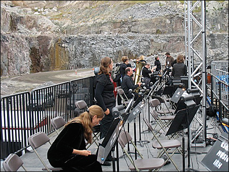 Musicians prepare for the final-dress-rehearsal performance.