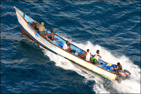 A suspected pirate skiff is seen in the sea near Somalia's northern port town of Bossaso, June 16, 2009.