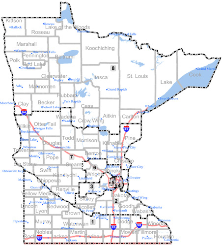 The new congressional redistricting map proposed by the Republican-controlled Minnesota House Committee.