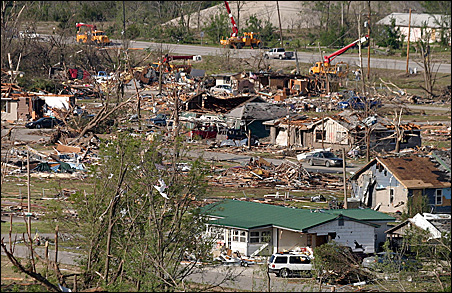 The aftermath of a tornado in Picher, Okla., on May 12.