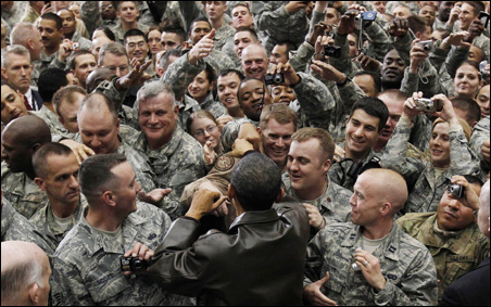 President Obama met with troops at Bagram Air Base in Afghanistan on Dec. 3.