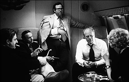 Ford's handpicked pool of reporters aboard Air Force One.