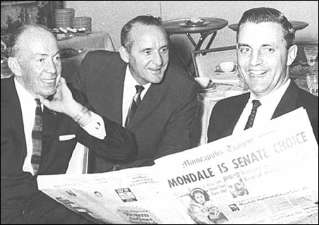 Left to right: Minnesota Gov. Karl Rolvaag, Miles Lord and Walter Mondale at the Sheraton-Ritz Hotel in  Minneapolis just after Mondale was appointed to the U.S. Senate in 1964.