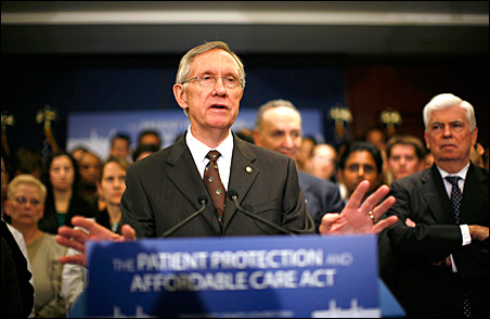Senate Majority Leader Harry Reid speaks about healthcare reform legislation during a news conference at the Capitol on Thursday.