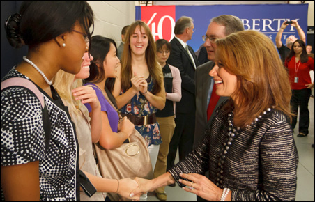 Michele Bachmann meets with students before giving an address at Liberty University.