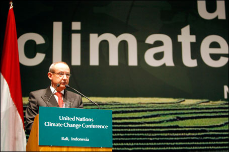 The executive secretary of the United Nations Framework Convention on Climate Change, Yvo de Boer, delivers a speech during the opening session of a major U.N. conference in Bali on Monday.