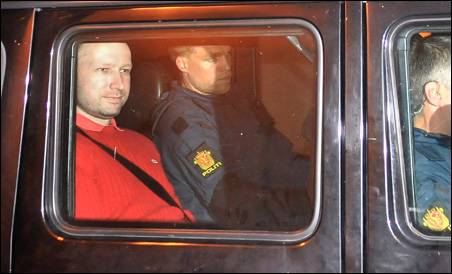 Anders Behring Breivik being transported in a police convoy from an Oslo courthouse on Monday.