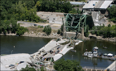 On Aug. 1, 2007, the I35W bridge over the Mississippi River collapsed, killing 13 people.