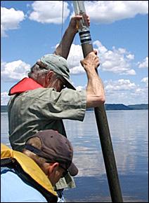 Minnesota researchers working at Lake Pepin.