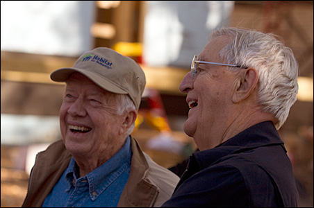 Former President Jimmy Carter today re-teamed with his vice president, Walter Mondale, for the Habitat for Humanity project in Minneapolis.