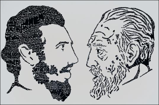 Phil Hansen painted this image of Fidel Castro, when he was young and old, with a quotation from a 1959 interview.