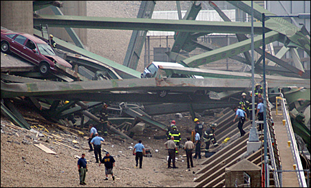 Rescuers were on the scene just after the collapse Aug. 1.