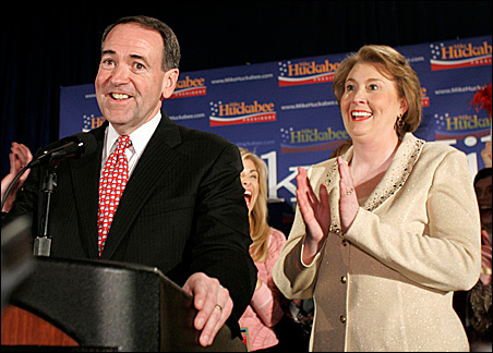 Former Arkansas Governor Mike Huckabee and his wife Janet