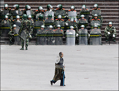Riot police in Kangding