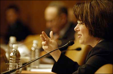 Sen. Amy Klobuchar questions a witness during a congressional hearing.