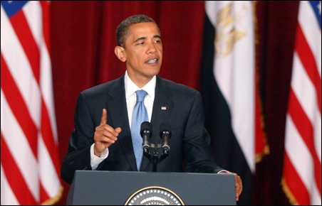 President Obama delivering a speech in the Grand Hall of Cairo University June 4, 2009.