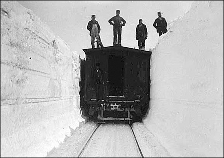 """Chicago & North Western Railway tracks during """"big snow"""" of 1880."""