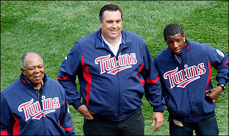 Tony Oliva, Kent Hrbek and Kirby Puckett Jr. attended the Twins' first game at Target Field on April 12.