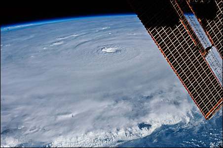 The eye of Hurricane Earl is seen in this photo taken from the International Space Station on Monday.