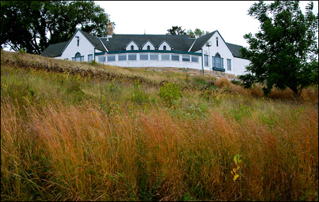 Keller's distinctive clubhouse sits on a hill above Highway 61.