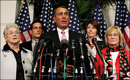 Speaker of the House John Boehner, center, announced a budget deal in the Capitol late Friday night.