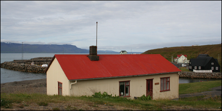 Bill Holm's cottage in the center of Hofsos, Iceland.