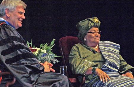 J. Brian Atwood and Liberian President Ellen Johnson Sirleaf on stage at Northrop Auditorium Friday.