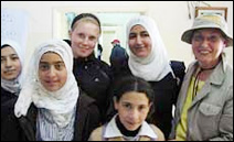 Dr. Debra Ricci, far right, is pictured with orphan girls in Hebron protesting the closure of their orphanage by the Israeli military.