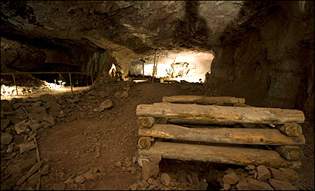 The shaft leading to the laboratory a half-mile underground.