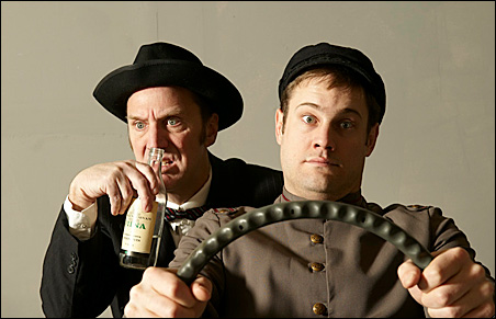 Grant Richey (left) as Puntila and Carson Lee as his lackey, Matti.