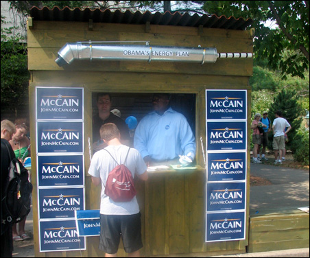 Presidential politics is big at the Fair this year with McCain boosters at one spot ...