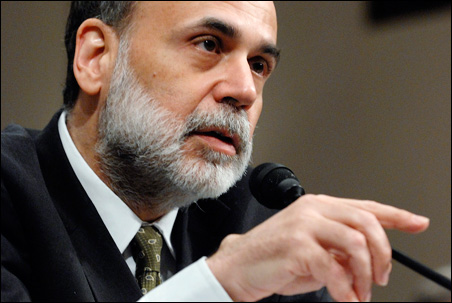 Federal Reserve Chairman Ben Bernanke, appearing before Congress in early April.