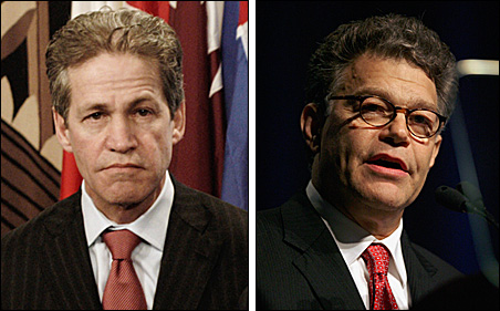 Sen. Norm Coleman, left, has political baggage to deal with during the campaign -- but so does Al Franken.