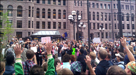 OccupyMN protesters assembling at Hennepin County Goverment Plaza.