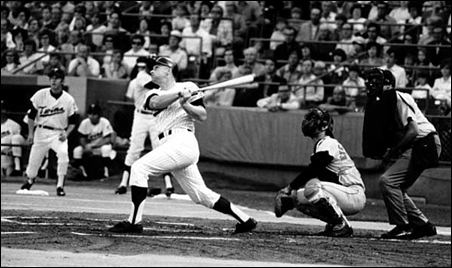 Harmon Killebrew hitting his 500th home run in a game against the Baltimore Orioles at Metropolitan Stadium.