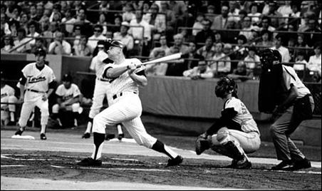 Harmon Killebrew hitting his 500th home run in a game against the Baltimore Orioles at Metropolitan Stadium.