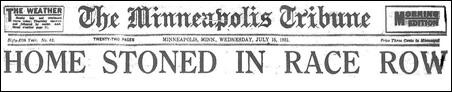 """HOME STONED IN RACE ROW, the Minneapolis Tribune's headline blared on July 15."