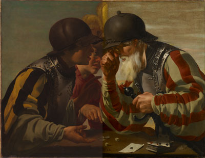 Composite image of The Gamblers, before (left) and after conservation (right).