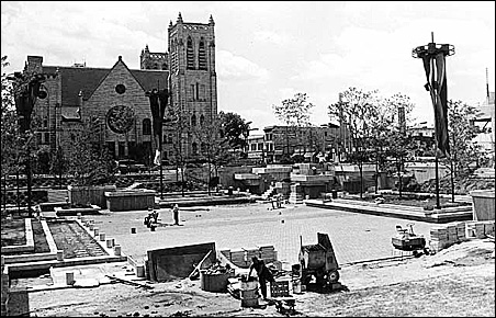 Peavey Plaza during its construction in 1975.