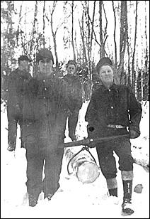 Camp Rabideau, 1935, moving logs
