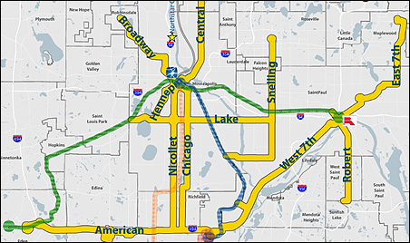 The corridors marked in yellow are the focus of a rapid bus transit plan for the Twin Cities.