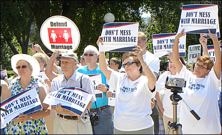 The National Organization for Marriage held a rally last July at the state Capitol against same-sex marriage.