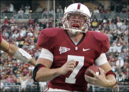 Stanford University running back Toby Gerhart shown scoring a first quarter touchdown against the University of Southern California in 2008.