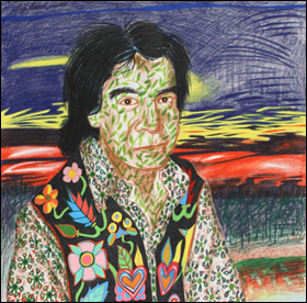 Frank Big Bear, Floral Man (Self-portrait), prismacolor pencil.