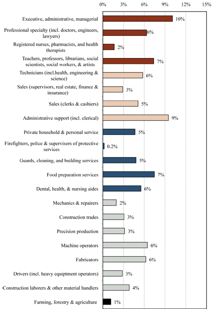 Occupations of immigrants in the Minneapolis-St. Paul area