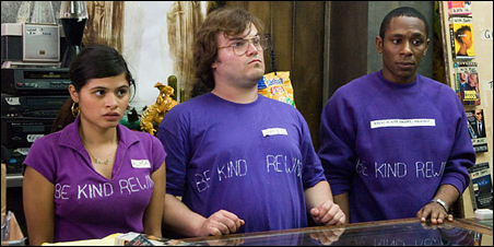 """<strong>Melonie Diaz, Jack Black, and Mos Def in """"Be Kind Rewind.""""</strong>"""