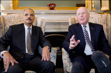 The chairman of the Senate Judiciary Committee, Patrick Leahy, meeting with Attorney General nominee Eric Holder (left) in Washington, D.C., last month.