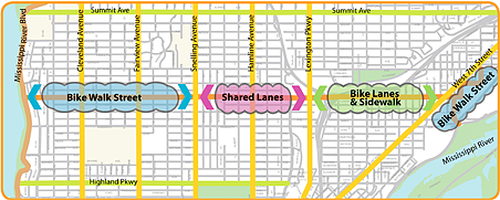 Bike walk streets, shared lanes and new bike lanes are included in the concept plan.