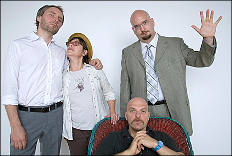 The Bad Plus with Wendy Lewis. From left to right: Reid Anderson, Lewis, Dave King (seated) and Ethan Iverson.