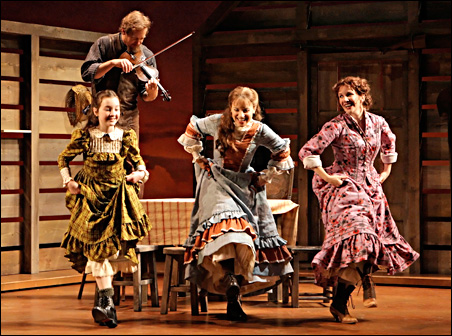 "Steve Blanchard (""Pa"" Ingalls), in back, Maeve Moynihan (Carrie), Jenn Gambatese (Mary) and Melissa Gilbert (""Ma"") in the Guthrie's 2008 staging of ""Little House."""